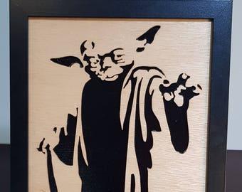 Yoda Superhero Wall Hanging | Star Wars | Jedi | Shelf Art | Room Decor | Display Art | Man Cave Gift | Boy's Present | Geek Gift