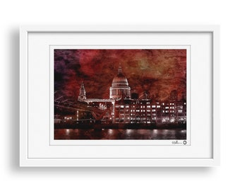 The Great Fire of London - London, St Pauls Cathedral, Wall Art Print