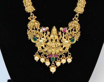 Temple Jewelry - Goddess Lakshmi Pendent necklace with Earrings
