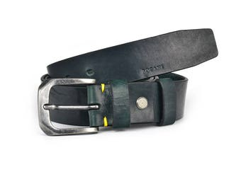 Full Grain Italian Leather Belt for Jeans, In Antique Green Veg Tan Leather