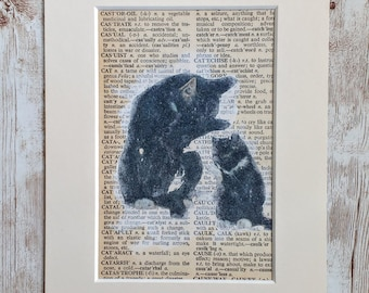 Image Transfer Black Cats on  Dictionary Page, Mixed Media