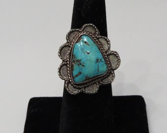 Vintage Sterling Silver Navajo Turquoise Ring sz 7