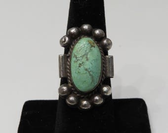 Vintage Sterling Silver Dry Creek Turquoise Navajo ring sz 7