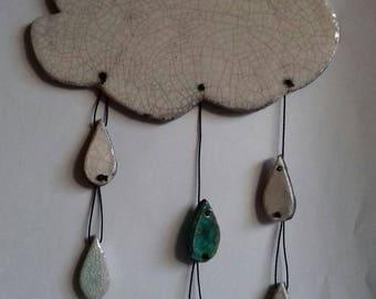 Hanging cloud and raindrops in Raku ceramic