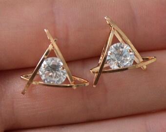Gold Triangle Diamond Stud earrings | Stud earrings | Geometrical earrings |