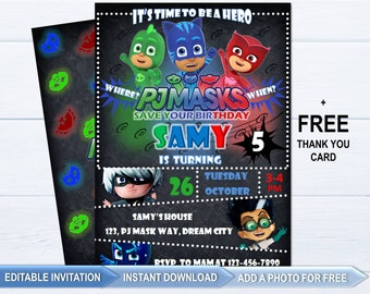 1c9ef8b762 PJ Masks invitation