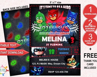 bcdb8b53ff Girl PJ Masks invitation