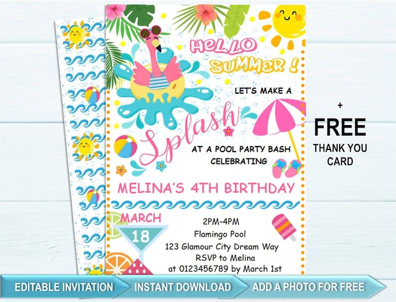 Pool Party Invitation Birthday Invite Summer