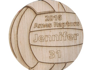 Wooden Volleyball Cutout Engraved Trophy Basketball Gifts Team Gift