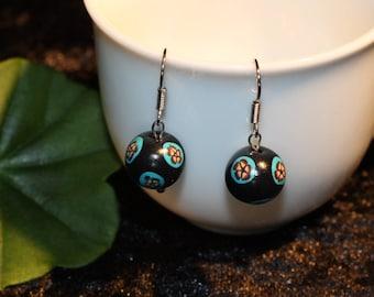 Fimo earrings Black with Millefiori floret
