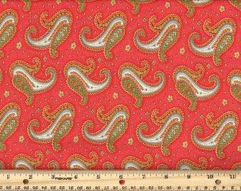 Paisley Dance - Coral  100% Cotton Fabric fat quarter