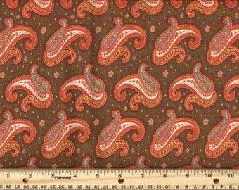 Paisley Dance - Brown  100% Cotton Fabric fat quarter
