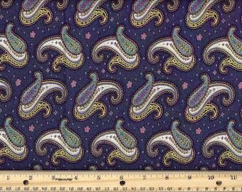 Paisley Dance - Navy  100% Cotton Fabric fat quarter