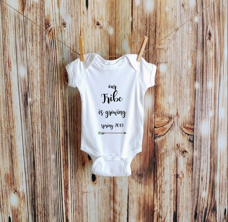 Baby Reveal Bodysuit Our Tribe is Growing Pregnancy Reveal