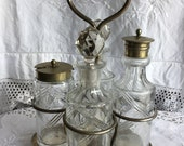 Vintage Condiment Cruet Set, EPNS, 4 Pieces and stand. Circa 1950s