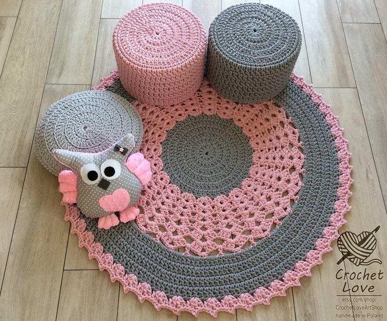 Children rug Crochet teppiche Crochet carpet Nursery crochet rug Modern CROCHET RUG babys rug Hand knitted rug Round crochet rug