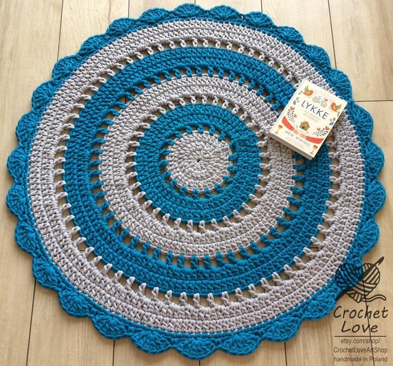 Gris perle et turquoise tapis rond tapis chambre de bébé tapis | Etsy