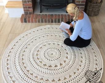 NEW COLORS, crochet rug, Doily rug, Round carpet, round rug, knitt carpet, babys rug, hand knitted rug, ECRU crochet rug or choice of color