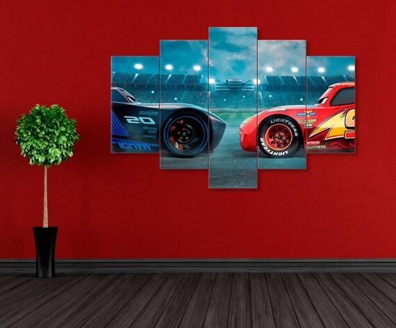 Disney Cars Canvas Cars 3 Poster Lightning Mcqueen Cars 3 Etsy