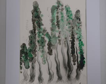 Ink and charcoal painting, inspired by forests and nature