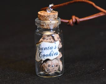 Santa's Cookies Glass Bottle Necklace - Glass Bottle Charm - Christmas Necklace - Glass Bottle Pendant