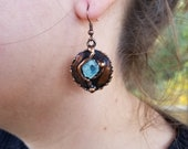 Copper Earrings with Semiprecious Stones
