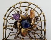 Brass Napkin/Letter Holder with Semiprecious Stone