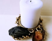 Brass Candle Holder with Tourmaline and Citrine