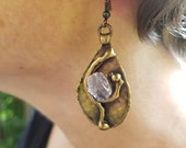Brass Earrings with Semiprecious Stones