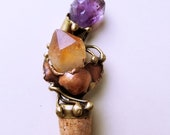 Wine Cork with Brass and Semiprecious Stone