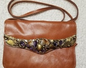 Leather with Semi-Precious Stones in  Brass with Adjustable Strap