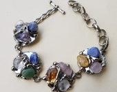 Alpaca Silver Bracelet with Mixed Stone
