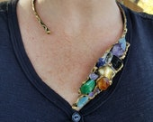 Brass Necklace with Mixed Semiprcious Stone Pendants