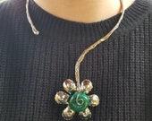 Alpaca Silver Necklace with Semiprecious Stones