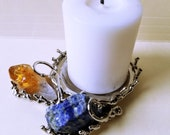 Alpaca Silver Candle Holder with Amethyst