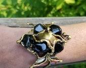Brass Bracelet with Semiprecious Stones