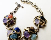 Brass Bracelet with Mixed Stones