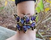 Butterfly Brass Bracelet with Stones