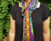 Hand Woven Multicolor Scarf from Guatemala
