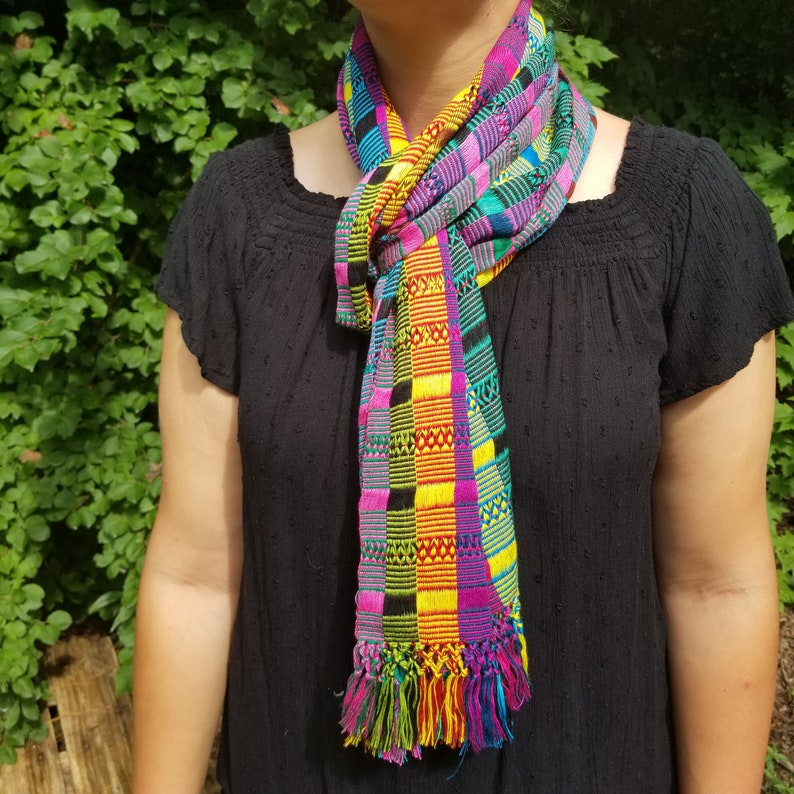 Hand Woven Multicolor Scarf from Guatemala image 0