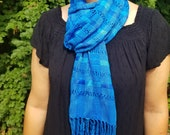 Hand Woven Blue Teal Plaid Scarf from Guatemala