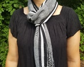Hand Woven Black and White Scarf from Guatemala