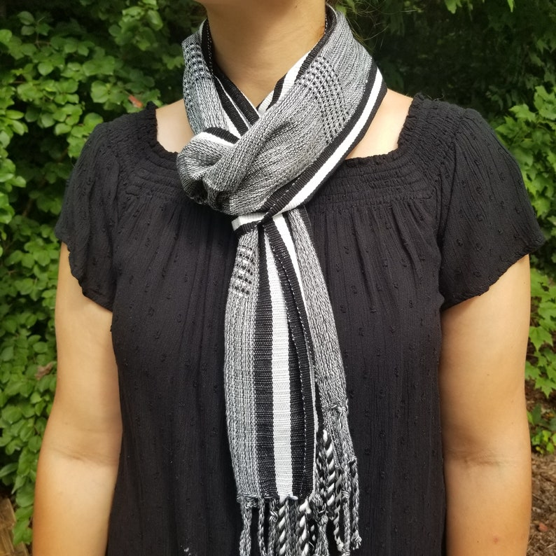 Hand Woven Black and White Scarf from Guatemala image 0