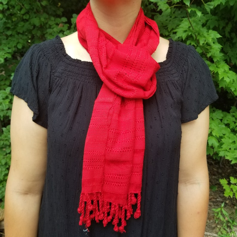 Hand Woven Red Scarf from Guatemala image 0