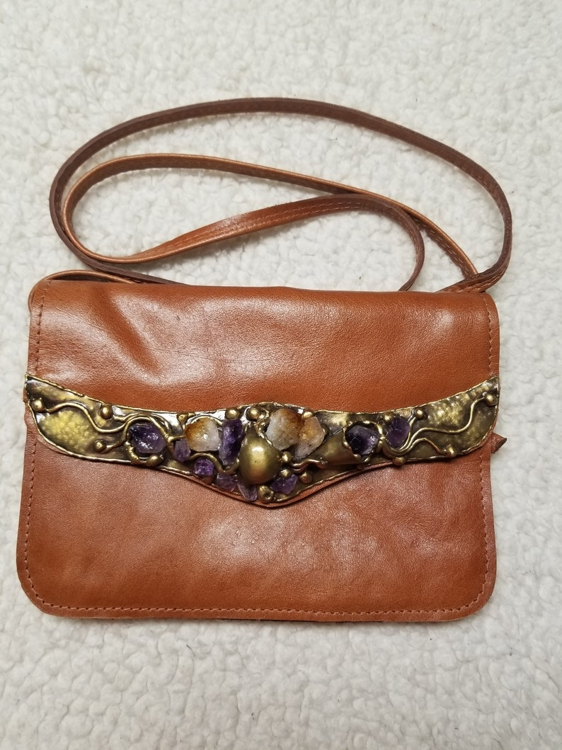 Leather with Semi-Precious Stones in  Brass with Adjustable image 0