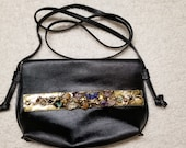 Leather with Semi-Precious Stones in Brass  Adjustable/Removable Strap