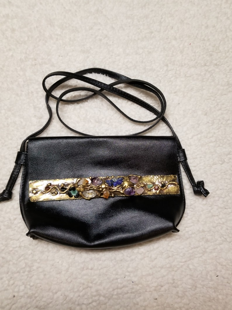 Leather with Semi-Precious Stones in Brass image 0