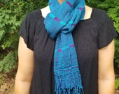 Hand Woven Teal Purple Scarf from Guatemala