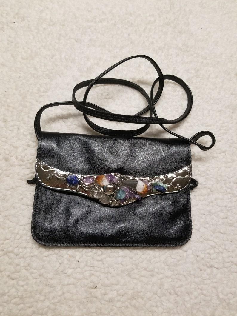 Leather with Semi-Precious Stones in Alpaca image 0