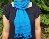 Hand Woven Blue Scarf from Guatemala